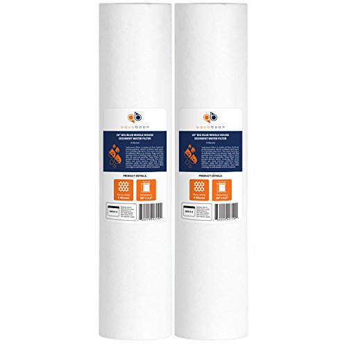 Aquaboon 5 Micron 20' Big Blue Sediment Water Filter Replacement Cartridge | Whole House Sediment Filtration | Compatible with AP810-2, SDC-45-2005, FPMB-BB5-20, P5-20BB, FP25B, 155358-43, 2 Pack