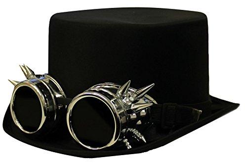 I LOVE FANCY DRESS LTD Steampunk DAMPFROCKER SCHWARZER Zylinder Hut+SILBERNER Retro UHRMACHER Look Brille Unisex ZUBEHÖR Technik CLOCKWORKER Zeit VERGANGENHEITS KOSTÜM VERKLEIDUNG