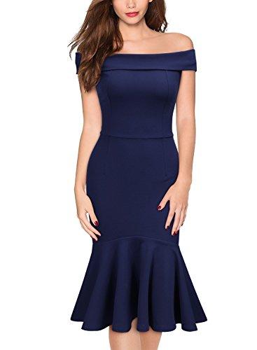 Knitee Women's Vintage Off The Shoulder Evening Party Dress,X-Large,Navy Blue