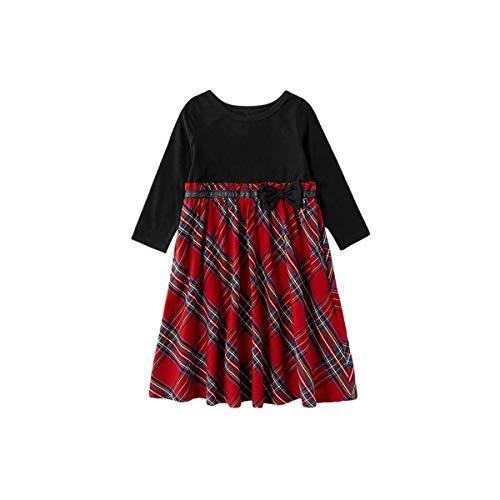 YZ-YUAN Ropa Familiar a Juego, Camisa a Cuadros con Botones, Traje de Pajarita para Caballeros, Trajes navideños para Adultos, niños y bebés recién Nacidos