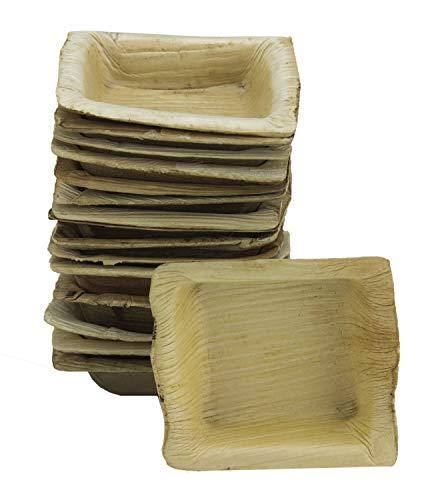 Ramekin quadrato usa e getta foglia di palma - 100% stoviglie di foglia di palma di areca biodegradabile naturale, 7 x 7,5 x 2 cm, confezione da 25 pezzi