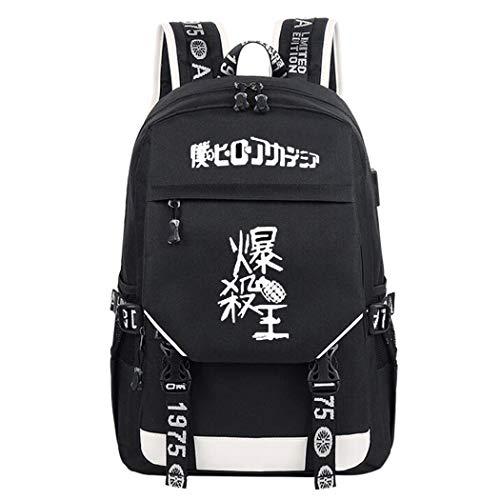 WANHONGYUE My Hero Academia Anime Cosplay Leuchtend Rucksack Schultasche Laptop Backpack mit USB-Ladeanschluss Schwarz / 17