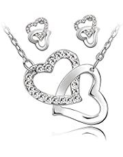 Sungpunet Collar y Pendientes Conjunto Collar y Pendientes Gala 2 Corazones entrelazados Cadenas y el Conjunto de Joyas Plateado para la Muchacha de Las Mujeres Fácil de Usar