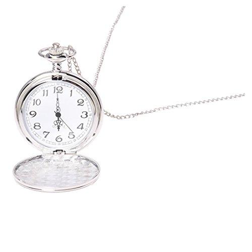 Senmubery Cool de la Cadena Cromo Reloj de Bolsillo (Plata)