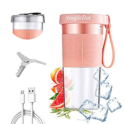 SimpleDot Portable Blender, Personal Jucier Cup, Mixer, Shakes and Smoothies, with USB Rechargeable, for Kitchen Outdoor Travel Office and Sports (Pink) by