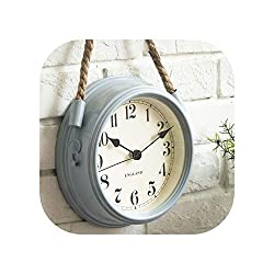Clocks Wall Clock Living Room Wrought Iron Metal Clocks Quartz Clock Personality,Sky Blue,8 Inch