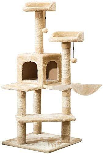 Wxxdlooa Castillo de Gato, Gato del Gato de casa Columpio Grande Resistente al Desgaste Columna de sisal Cat Cafe Gato Que Salta de Plataforma YAN (Color : Beige)