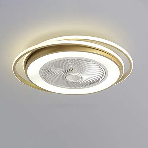 Dagea Ø62CM Moderno Ventilador de Techo con Iluminación LED Ligero Regulable con Control Remoto Invisible Silencio Redondo Ventilador Luces Sala Cuarto Habitación de niños Lámpara 64W,Oro