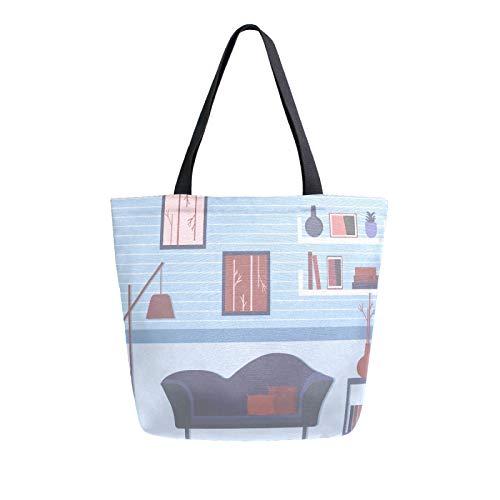 JinDoDo Bolsa de lona de dibujos animados para sofá, lámpara de suelo, sala de estar, reutilizable, bolso de mano, para ir de compras, viajes, playa, escuela