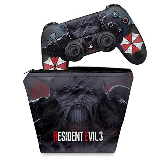 Capa Case e Skin Adesivo PS4 Controle - Resident Evil 3 Remake