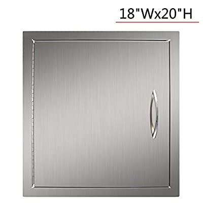 YXHARD Outdoor Kitchen Door, 304 Brushed Stainless Steel 18Wx20H Inches Wall Construction Single BBQ Access Door?Flush Mount for Outdoor Kitchen,Grilling Station or Commercial BBQ Island