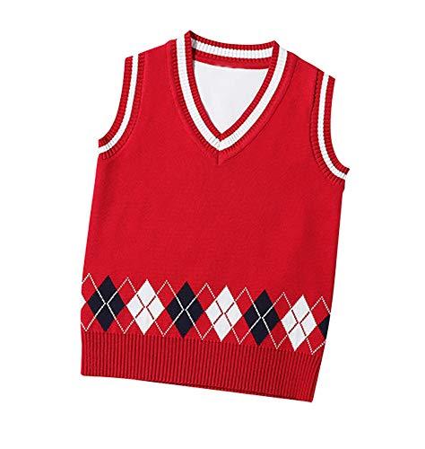 Suéter Jerseys Chaleco Prendas de Punto para Niños Niñas Ropa con V Cuello Sin Mangas Campus Estilo - Rojo 130