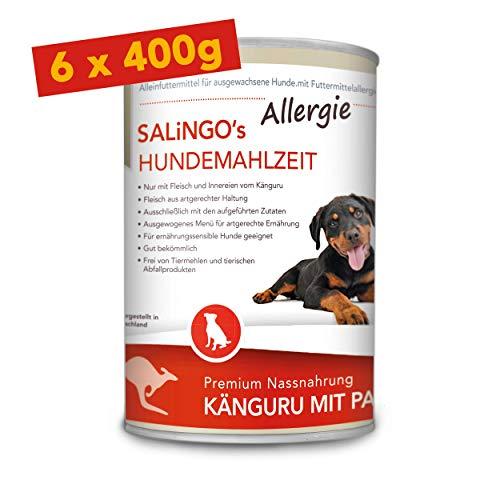 SALiNGO Premium Nassfutter für Hunde | Hundefutter Känguru mit Pastinake | getreidefrei | Single Protein | hypoallergen | 6x400g