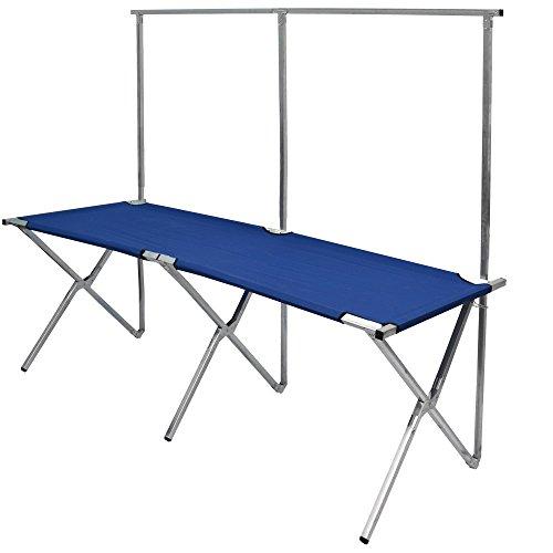 EYEPOWER Plegable Puesto de Venta con höhenverstellbarer Barra Metal Aluminio Mercadillo de Mesa Aprox. 205x 67cm Azul