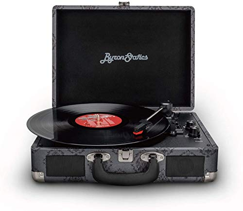 Byron Statics Reproductor de discos de vinilo, tocadiscos Bluetooth de 3 velocidades, dos altavoces integrados, aguja de repuesto, salida de línea RCA, entrada auxiliar, maleta portátil gris oscuro