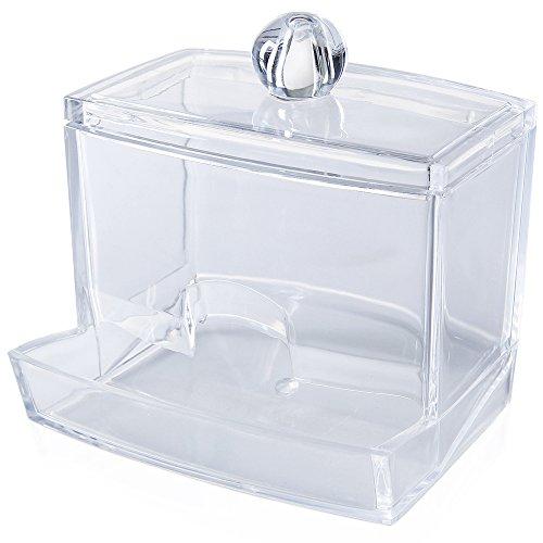 Prochive Distributeur de cotons-tiges en acrylique transparent Boîte à maquillage