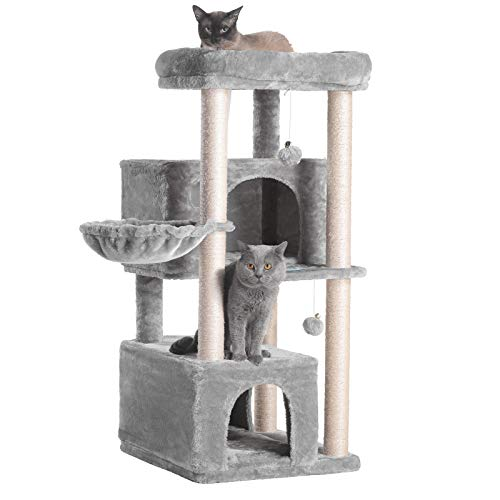 Hey-brother Multi-Level Cat Tree Condo Furniture with Sisal-Covered Scratching Posts, 2 Plush Condos, Plush Perches, for Kittens, Cats and Pets (Light Gray)