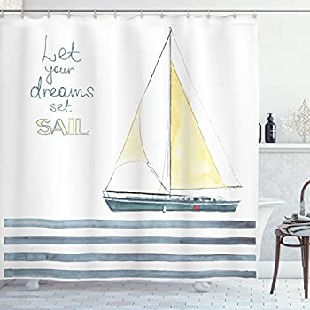 Ambesonne Nautical Shower Curtain Let Your Dreams Set Sail Words Stripes Yacht Interior Navigation Theme Cloth Fabric Bathroom Decor Set with Hooks 70  Long Pale Blue White
