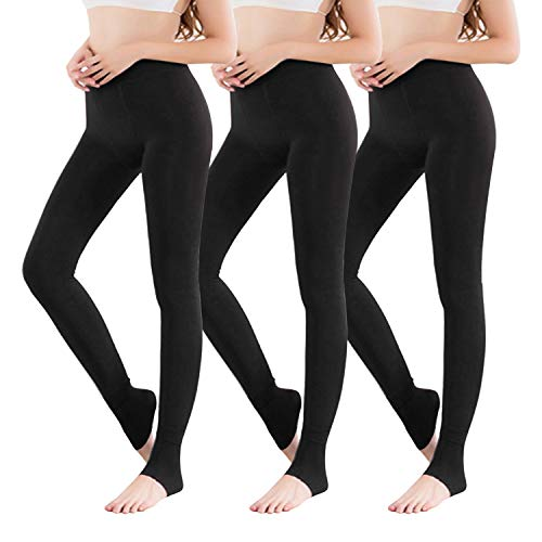 Vertvie 1/3/5er Pack Damen Thermo Strumpfhose Leggings mit Innenfleece für Herbst Winter Super Strech Warm Blickdichte Leggins (one Size, 3 Schwarz)