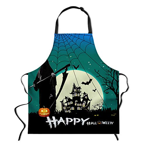 spArt Halloween-Schürze, Spuk Tod mit Einer Sichel gotische Burg und Cobweb Terror Specter Daidle, Mehrzweck Für Kochen Putzen und Cosplay