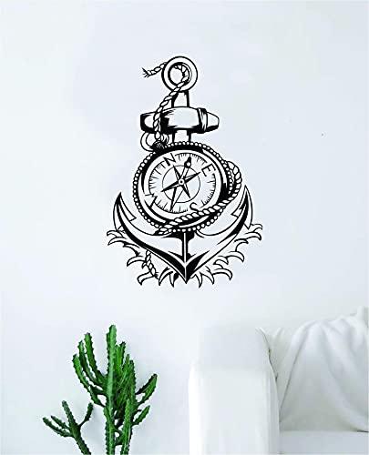 Calcomanía de vinilo con brújula de ancla para pared, decoración de dormitorio, sala de estar, cita inspiradora para niño y niña, bebé, feliz, playa náutica, océano, olas motivacionales