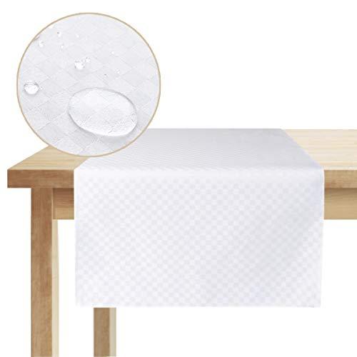Swanson Home Edler Tischläufer im Modernen Design. Hochwertiger Stoff. Abwaschbar. Kariert. (Perlweiß, 140 x 40 cm)