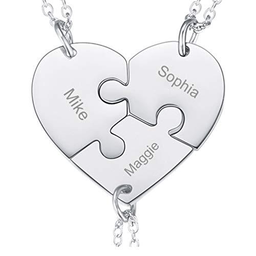 PROSTEEL 3-Teilig Collier für Familien Freundinnen personalisiert Puzzle Herz Anhänger mit 46+5cm Rolokette Edelstahl Freundschaftsketten für Geburtstag Weihnachten Gedenktag