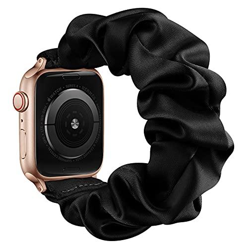 AdirMi Compatible con Apple Watch Series 1, 2, 3, 4, 5, 6 SE, bandas elásticas para Apple Watch para mujeres, bandas elásticas para Apple Watch 38/40 mm, 42/44 mm, negro, 42/44 mm (L)