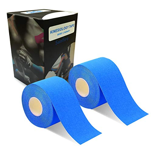2巻入テーピングテープキネシオテープ筋肉・関節をサポート伸縮性強い汗に強いパフォーマンスを高める5cmx5m(靑い)
