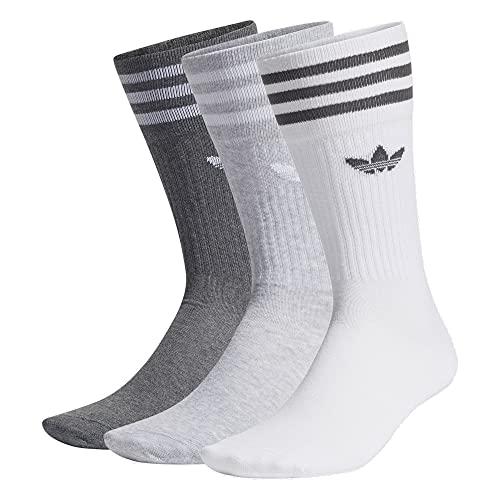 adidas Solid Crew Socks Socken 3er Pack (M, white/grey/darkgrey, m)