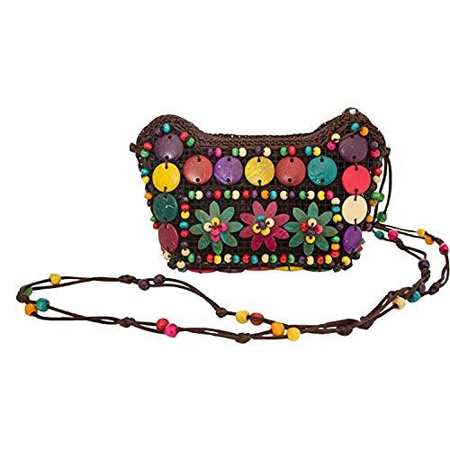 Wohlstand Handtasche,Bunte Hippie Blumen Handtasche mit Perlen,17x7x11cm,Umhängetasche zum Retro 60er 70er Jahre Outfit