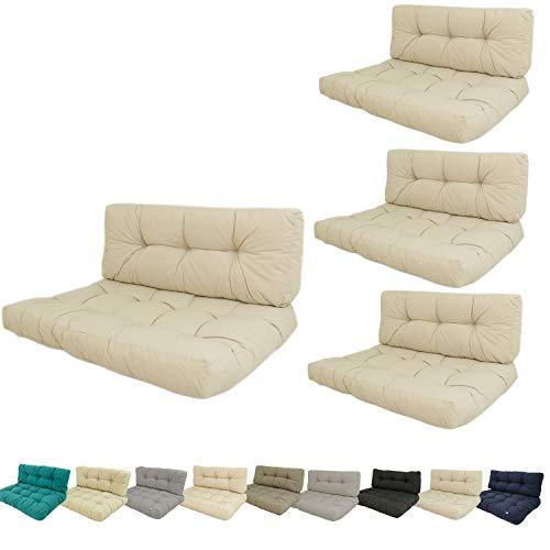 Edenjardi Pack 4 Cojines para palets, Cojín de Asiento 80x120x16 cm +...