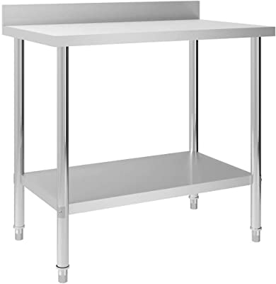 vidaXL Kitchen Work Table with Backsplash 100x60x93 cm Stainless Steel