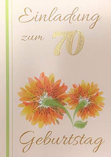 Einladungskarten 70. Geburtstag Frau Mann mit Innentext Motiv orangene Blume 10 Klappkarten DIN A6 im Hochformat mit weißen Umschlägen im Set Geburtstagskarten Einladung 70 Geburtstag Mann Frau K95