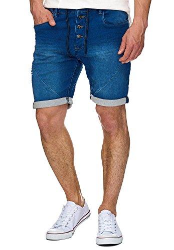 Indicode Herren Piano Sweatshorts mit 5 Taschen aus 82% Baumwolle | Kurze Hose Used-Look Shorts Denim-Optik Short Sweat Pants Washed Destroyed Jeans-Look Freizeithose für Männer Navy 3XL