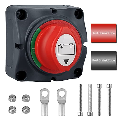 EEEKit Interruptor de Bateria 12V, Interruptor de Desconexión de Batería, Interruptor Kit con Terminal de Cobre para Coche, Barco, Vehículo Recreativo Marino, Camión de 12 / 24V