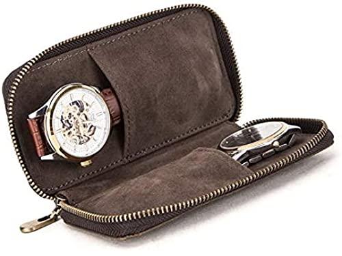 ZLYY Estuche de reloj portátil organizador de piel para 2 relojes en color marrón, 15 x 3 x 8,5 cm