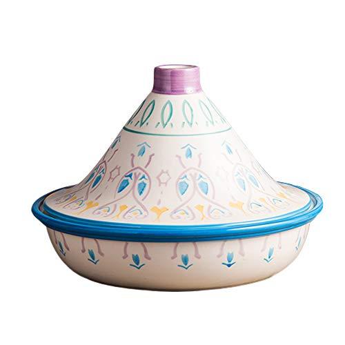 AWYGHJ Keramik Tajine Topf, 1,2 Quart handgemachte marokkanische Tajine mit kegelförmigem Deckel, Glasur und handbemalt, zum Kochen und Eintopf Auflauf Slow Cooker