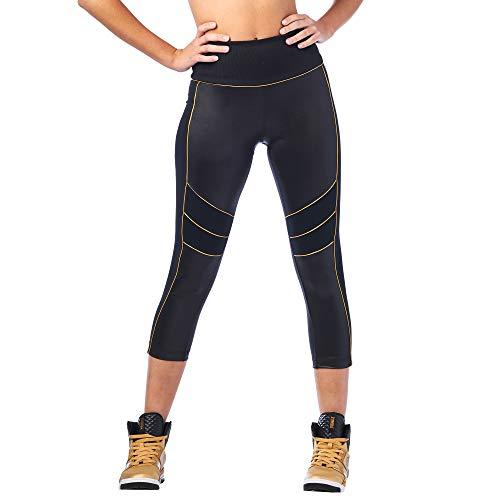 Zumba Aktiv Sport Capri High Waist Leggings Stilvoll Workout Fitnesshose Damen, Bold Black 1, M