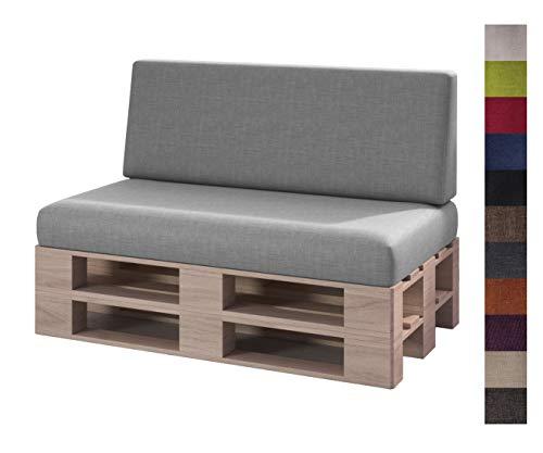 sunnypillow Set 2 Coussins pour Canapé Palette Intérieur/Extérieur Assise 120 x 80 x 15 cm + Dossier 120 x 40 x 20/10 cm plusieures Tailles et Couleurs à Choisir Siège Appui Lisse Lounge Gris