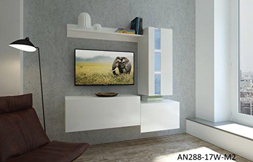 Home Direct Nancy N288, Modernes Wohnzimmer, Wohnwände, Wohnschränke, Schrankwand (Weiß Matt Base/Weiß Matt Front (M2), Möbel)