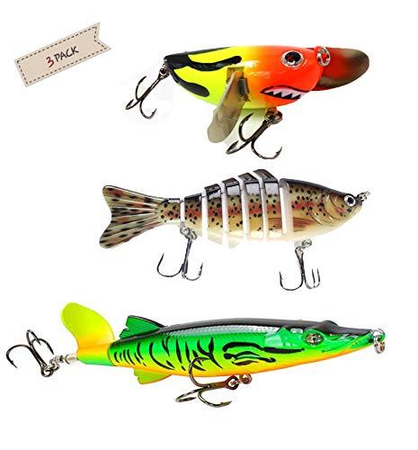 MRJHS Fishing Lures,Tackle Floating Trolling Killer,Lifelike Fish Bait & 360°Rotating Tail Lure Kit(3pcs),Bass Trout