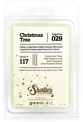 Shortie's Candle Company Christmas Tree Wax Melts - Formula 117-1 Highly Scented 3 Oz. Bar - Made with Natural Oils - Christmas & Holiday Air Freshener Cubes Collection