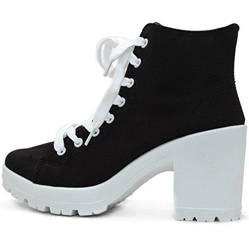 LA pucci© Blogger Plateau Sneakers mit Blockabsatz (37, Schwarz)