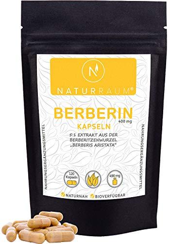 NaturRaum Berberin Extrakt Kapseln hochdosiert | mit 400mg Berberitzen Pulver I 5:1 Extrakt aus Berberis aristata I bekannt aus der ayurvedischen ernährung I Ohne Zusatzstoffe I Vegan I 120 Kapseln