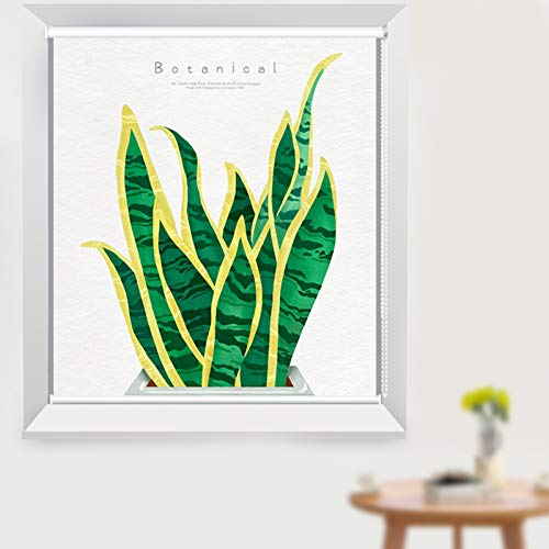 Persianas Sala de Estar/Dormitorio/Baño/Cortinas Enrollables de Oficina, Ventana de Diseño de Patrón de Planta Verde con Guarnición, 80cm / 100cm / 120cm / 150cm de Ancho