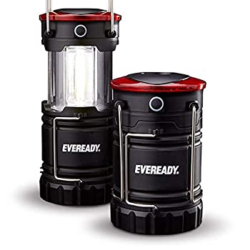 Eveready 360 LED Camping Lantern IPX4 Water Resistant Super Bright 100 Hour Run-time Battery Powered Outdoor LED Lantern Black 2-Pack Compact