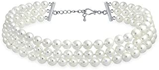 Bling Jewelry Bridal Hand Knotted 3 Row Wide Grey Pink White Simulated Pearl Strand Choker Collar Necklace for Women for Teen Prom