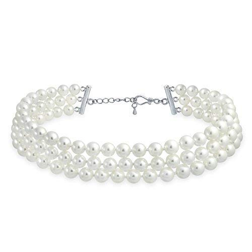 Bling Jewelry Bridal Annodati A Mano 3 File Larghe Bianco Perla Simulata Filo Collare Girocollo Necklace per Donne Placcato in Argento