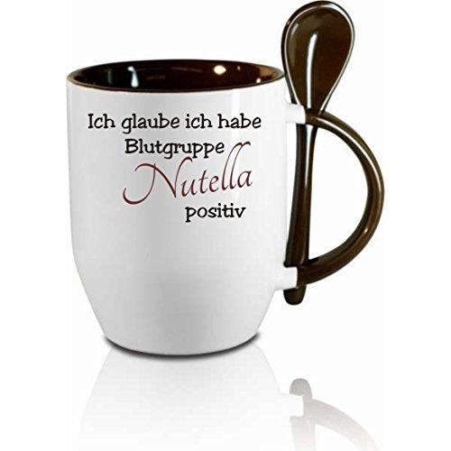 Creativ Deluxe Tasse m. Löffel Ich glaube ich Habe Blugruppe Nutella positiv Löffeltasse, Kaffeetasse mit Motiv,Bürotasse, Bedruckte Tasse mit Sprüchen oder Bildern -